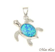 Sea Turtle Opal Cz Pendant Charm 925 Sterling Silver Rhodium Hawaiian Honu