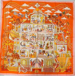 Hermes Châle 140 La Maison des Carres Orange Cachemire & Soie Stole Pierre Marie