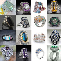 Women Luxury Crystal Huge Topaz Gemstone Jewelry Wedding Party Ring Sz 6-10