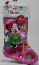 Disney Christmas Happy Holiday Minnie Mouse Pink & White Stocking NWT