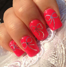 3D Nails WRAPS Nail Art Water Transfers Decals Stickers Silver Bow Tips Y830