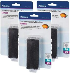 Aqueon QuietFlow Carbon Specialty Filter Pads, Size 20/75, 4 Pads Each (3 Pack)