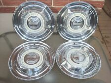 "1958 Oldsmobile 14"" Hub Caps Set of 4 Wheel Covers 58 Olds Hubcaps Cream centers"