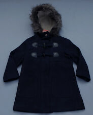 Girl's Navy Blue Zipped Toggle Coat w Faux Fur Trim Hood - Size 7 NWT