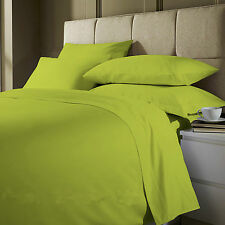 Poly-Cotton Plain Dyed 3PC Duvet Cover Single Double King Lime Green All UK Size