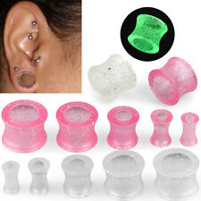 Pair Clear or Pink Glitter Double Flared Glowing Saddle Ear Plugs Flesh Tunnel