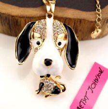 Betsey Johnson Gold Plated Crystal Enamel Beagle & Beagle Head Necklace