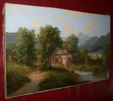 Alpenlandschaft mit Wassermühle. Barbarini-Kreis. XIX Jhd.