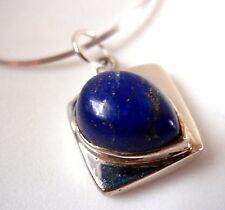 Lapis Lazuli Sideways Teardrop 925 Sterling Silver Pendant New