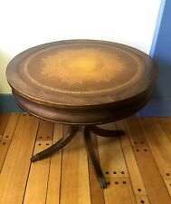 Antique Louis Scalera Round Walnut Table Leather Top