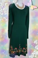 Joe Browns Dress 14 Green midi stretch floral borders long sleeves Quirky detail