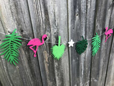 Flamingo Felt Bunting Banner Hawaiian Tropical Leaves Garland Summer Party