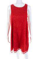 Max Studio Womens Floral Lace Layered Shift Dress Red Size Medium
