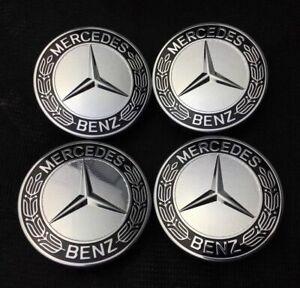 4Pcs Hubcaps Wheel Center Caps Emblem Dark Blue Wreath fit Mercedes Benz 75mm