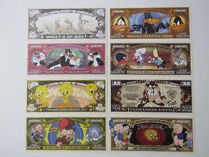8 Fun Cartoon $1,000,000 Bills: Bugs Bunny,Daffy Duck,Taz,Tweety Bird,Porky Pig