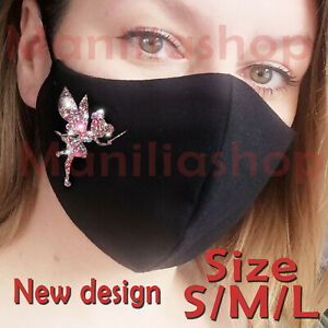 Face Mask Rose gold Real Glitter Tinkerbell Disney adult Cotton Double Layer