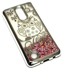 For LG Aristo / MS210 Silver Owl Flower Pink Glitter Star Liquid Skin Case Cover