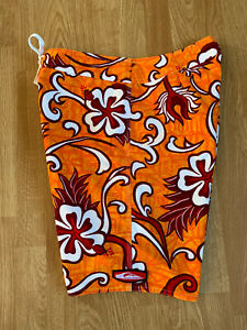 New Vintage 90's Orange & Red Quiksilver Hawaiian Hibiscus Surf Board Shorts 32