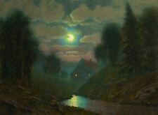 original oil painting landscape signed on canvas vintage antique style 9321 COLE