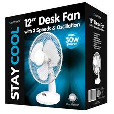 Lloytron F1011WH Stay Cool Desk Fan, 12-Inch, 40 W, White