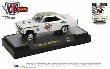 "1967 CHEVROLET NOVA GASSER ""HURST"" WHITE & GOLD 1/64 DIECAST MODEL M2 31600-GS06"