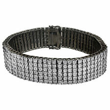 Black & White Diamond Bracelet Mens .925 Sterling Silver Round Design 1.07 Tcw