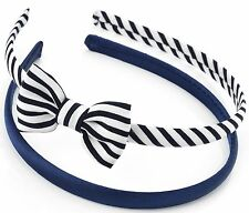 2 PACK 1 SATIN 1 NAVY CANDY STRIPE BOW COTTON ALICE HEADBAND HAIR BAND NAUTICAL