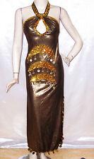 Egyptian Belly Dance Baladi Saidi Galabeya Dress Costume Halter Neck Black