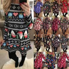 UK Size 6-22 Womens Xmas Christmas Santa Long Sleeves Ladies Snowman Paty Dress