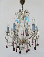 Vintage Italian Crystal Beaded 6-light Chandelier, Purple & Azure drops