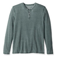 Lucky Brand Men's L  NWT$49 Green Long Sleeve Venice Burnout Henley Tee
