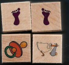 FOOTPRINTS PACIFIER STORK BABY DELIVERY MINI LOT wood mount RUBBER STAMPS