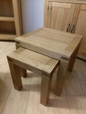 Sydney Modern Chunky Oak Nest of 2 Tables / Side / End / Lamp