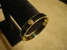 Classic! VICTORIA'S SECRET Black & Gold ✦ VS Button Metal BANGLE BRACELET Love ✦