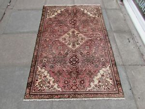 Vintage Hand Made Traditional Oriental Wool Faded Pink Large Rug 172x112cm
