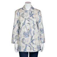 Escada Margaretha Ley Cream Blue Graphic Print Quilted 100% Silk Jacket sz 38/8