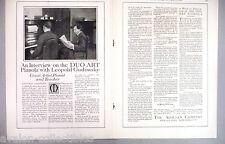 Pianola Piano Double-Page PRINT AD - 1916 ~~ Leopold Godowsky, Aeolian