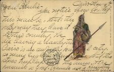 Egyptian Soldier - Spear & Helmet 1903 Used Postcard myn