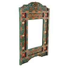 Green hanging mirror frame, Moroccan farmhouse decor of wood, hand-painted wall