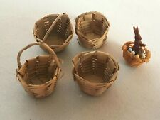Dollhouse Wicker Baskets Lot of 5 Easter Bunny Home Decor Kitchen Dining Room
