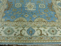 10'x14' New Blue hand knotted wool Turkish Oushak Oriental area rug