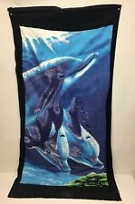 "100% Cotton Beach Towel Backpack Dolphin Graphics NWT 30"" X 60"""
