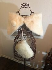 Vintage Real Fur Wrap and Muff - Rabbit Fur - White/Ivory - For Wedding Bridal