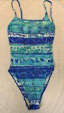 Coast Line Colourful Blue Patterned Swimsuit Size 12