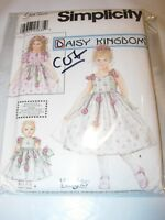 "GIRLS CUT SIMPLICITY Sewing Pattern 7112 DRESS DAISY KINGDOM 18"" DOLL SIZE 3-6"