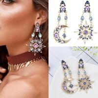 Women Fashion Elegant Rhinestone Sun and Moon Drop Long Ear Stud Earrings Gift