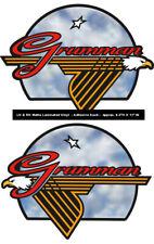 "GRUMMAN Canoe Stickers - LH & RH • Matte Laminated adhesive 8-1/2""H X 11-1/2"" W"