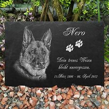 GRABSTEIN Tiergrabstein Gedenkstein Hunde Hund-020 ► Foto Gravur ◄ 60 x 30 cm
