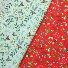 Polycotton Fabric Christmas Holly Berry Berries Leaves Xmas Craft