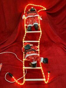 "New Vintage 57"" Christmas Decor Santa Climbing Rope Light Ladder Indoor Outdoor"